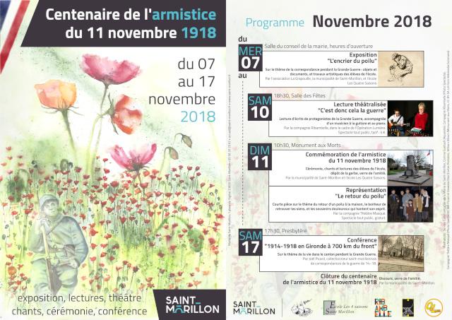Programme commémoration 11 novembre 2018